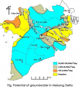 Fig.7 - Potenziale di sfruttamento dell'acqua freatica nel Delta del Mekong